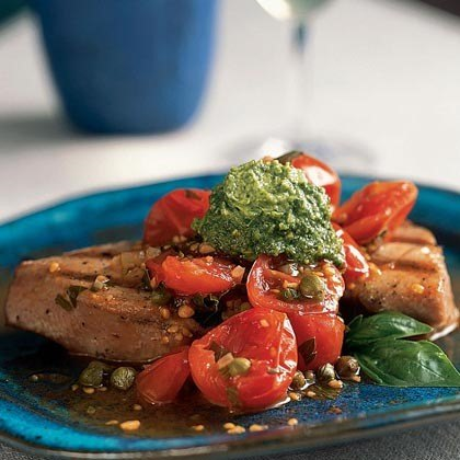 Grilled Tuna with Basil Butter and Tomato Sauce